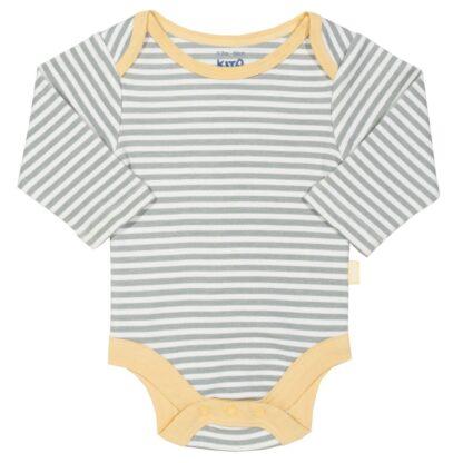 grey striped long sleeve baby bodysuit