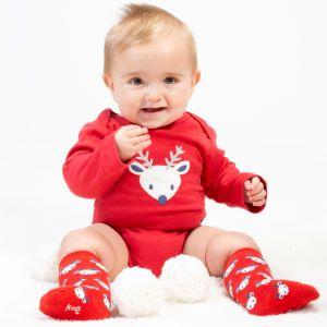 baby clothing rental red long sleeve deer bodysuit