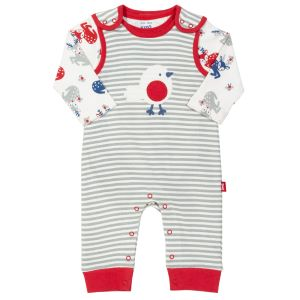two piece long sleeve deer print bodysuit and stripy dungarees to rent