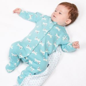 organic blue pup baby sleepsuit available to rent