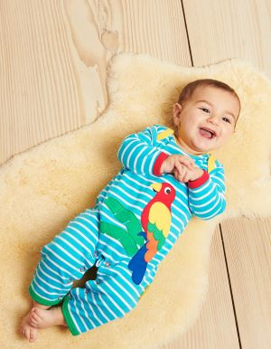 parrot sleepsuit with blue stripe
