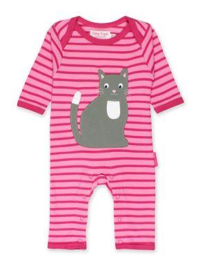 0-3 months, organic cotton kitten applique sleepsuit