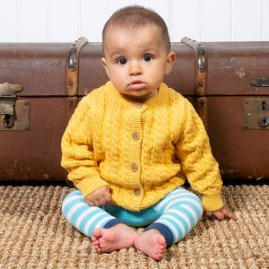 baby knit cardigan in yellow