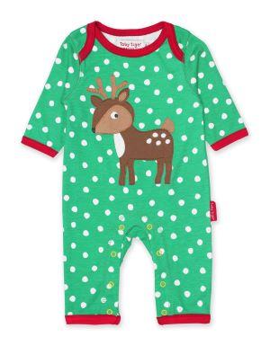 green dotty baby rental sleepsuit with deer applique