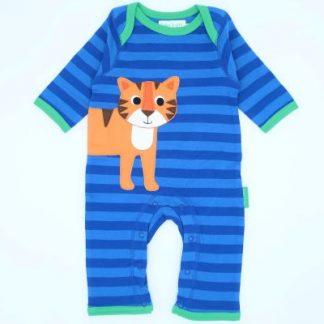 0-3 months blue stripe sleepsuit