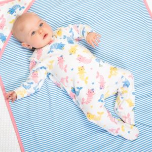 baby sleepsuit with mercat print available to rent