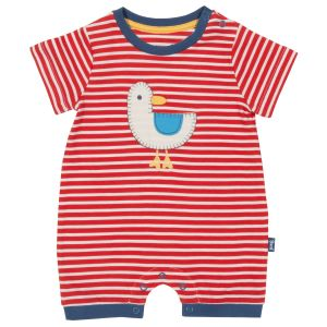 red and white striped organic romper clothes rental