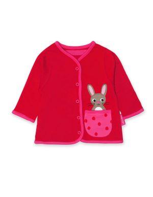 reversible red rabbit baby cardigan