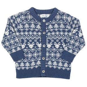 Navy blue and white button fronted baby clothing rental cardigan