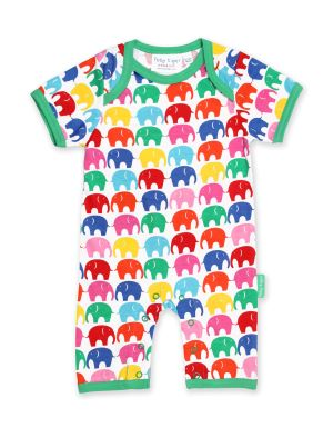 baby clothing rental romper with a colourful elephant print