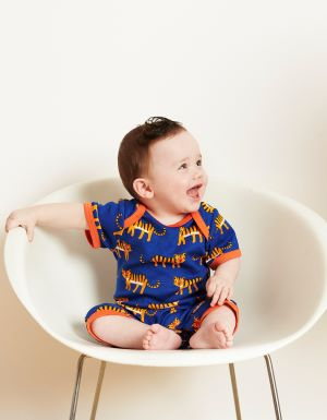 orange and blue baby romper to rent with tiger print