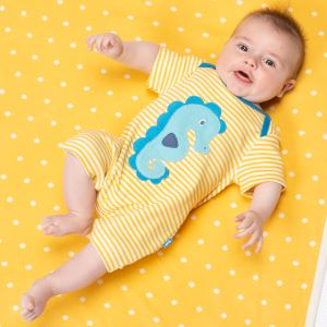 yellow and ecru striped seahorse romper to rent
