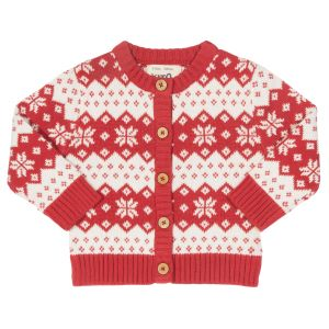 Baby cardigan in red and white available to rent