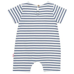 organic strawberry romper with navy and white stripe