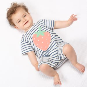 baby clothes rental organic strawberry romper with navy and white stripe