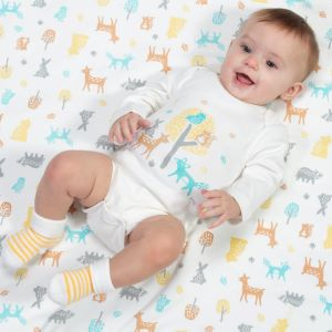 organic long sleeve baby bodysuit with woodland print to rent