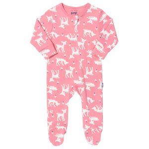 organic deer print baby clothing rental sleepsuit in pink