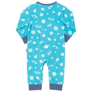 blue romper with space time print available to rent