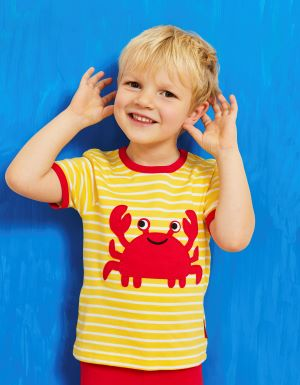 organic crab applique t-shirt yellow and cream stripe rental