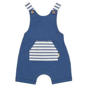 navy with striped details babywear rental dungarees