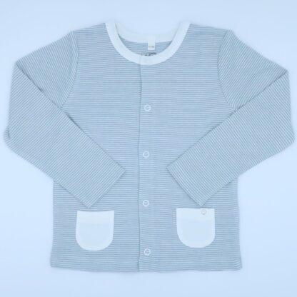 bamboo and organic cotton Blue stripe baby cardigan