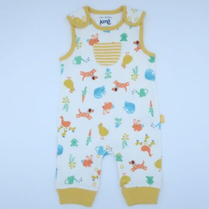 organic ecru and farmyard printed dungaree baby clothes to rent