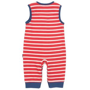 red and white stripe organic dungarees baby clothes to rent