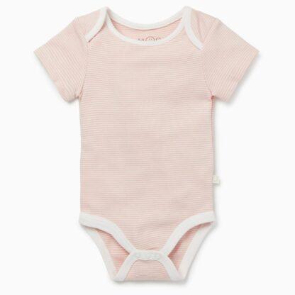 rental clothes organic cotton and bamboo short sleeve blush pink stripe bodysuit
