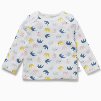 bamboo and organic cotton baby long sleeve little elephant top