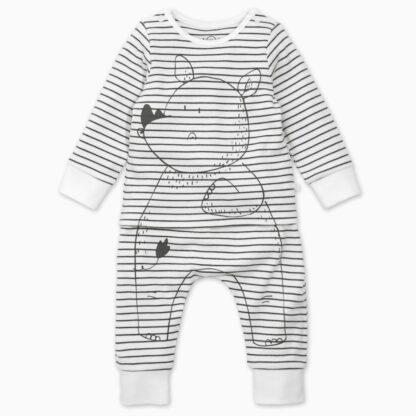 baby cotton bamboo rhino grey stripe pyjamas rental