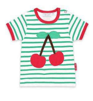 organic cherry green and white stripe t-shirt babywear rental clothes