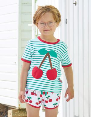 organic cherry t-shirt green and white stripe baby clothes rental