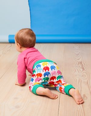 Multi elephant baby trousers