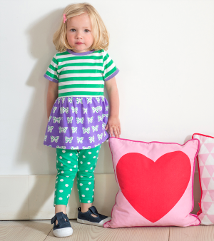 green spotty baby clothes rental leggings