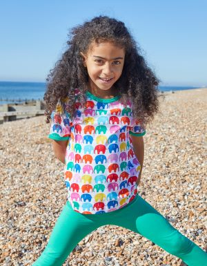 organic multi coloured elephant t-shirt rental clothes for babies