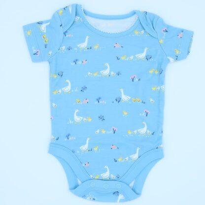 organic blue geese print short sleeve bodysuit