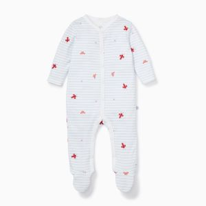 organic cotton and bamboo ocean stripe baby clothing rentalsleepsuit rental