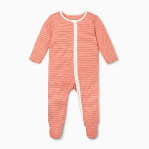 coral stripe organic cotton and bamboo rental sleepsuit