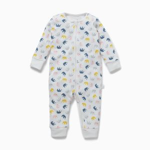 bamboo and cotton elephant baby clothes rental sleepsuit
