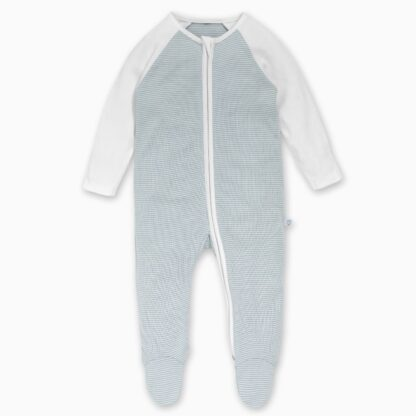bamboo and organic cotton blue stripe baby rental sleepsuit