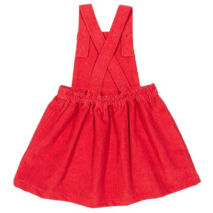 cross over back on red pinafore baby dress