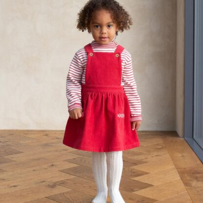 organic red pinafore dress by Kite baby clothing