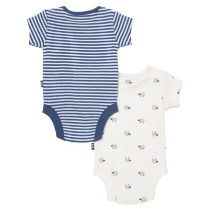 sheepy print and navy and white 2 pack bodysuits