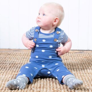 organic baby dungarees in sheepy print to rent