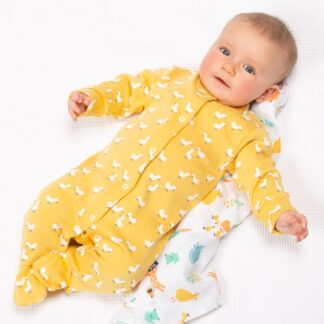 organic yellow duck print baby sleepsuit available to rent