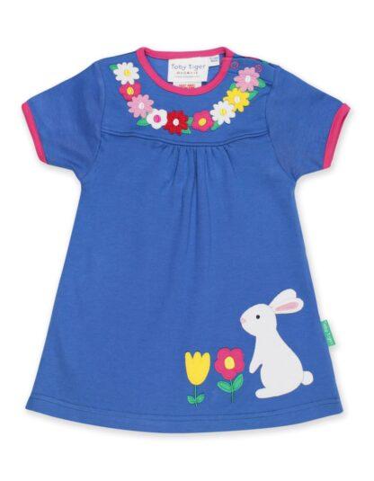 organic blue short sleeve baby clothing rental dress