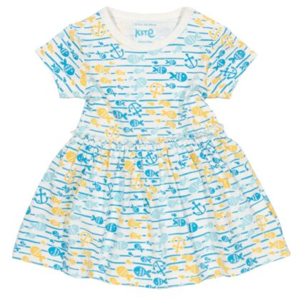 blue printed organic baby dress available to rent