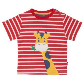 organic babywear rental red striped giraffe t-shirt