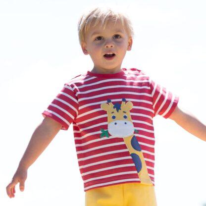 organic red stripe baby t-shirt