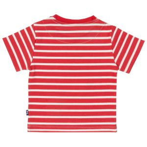 red and white stripe baby T-shirt with giraffe detail on front